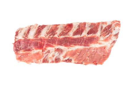 Raw pork meat ribs isolated on white background. Fresh pork meat ribs for barbeque. Strip of pork meat on ribs. BBQ pork ribs isolated over white 写真素材