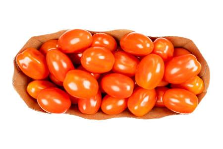 Box of cherry tomato Isolated on white background. Top view. Fresh cherry tomatoes isolated on white. Tomato isolated