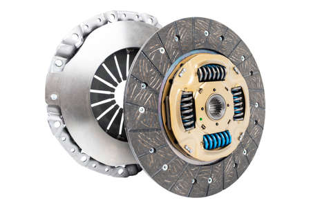 Car repair kit clutch manual gearbox isolated on a white background. Car and truck clutch disk. Composite clutch disc. Clutch repair kit. Car maintenance spare parts Stock Photo
