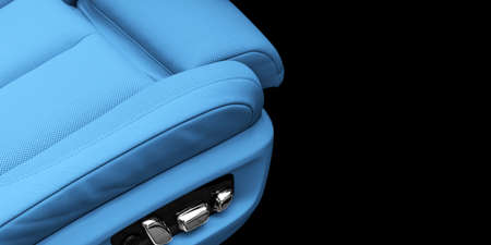 Blue leather interior of the luxury modern car. Perforated blue leather comfortable seats with stitching isolated on black background. Modern car interior details. Car detailing. Car inside