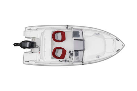 Aerial view white fishing motor boat with red leather seats isolated on white background. Top aerial view fishing boat isolated over white with clipping path