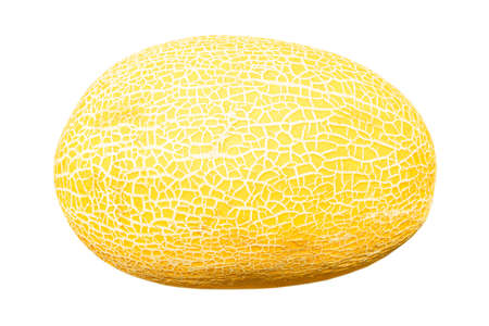 Ripe sweet melon fruit isolated on a white background. Close up of a ripe fresh melon fruit isolated over white Banco de Imagens