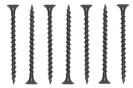 Self tapping metal screw isolated on a white background. Self-tapping screws isolated over white background. Background of the screw. Macro shot set self drilling fasteners.