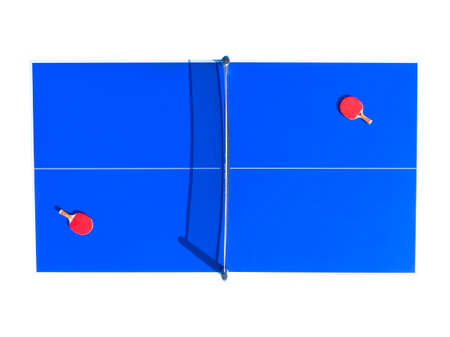 Aerial top view blue table tennis  isolated on white background. Banque d'images - 167018362