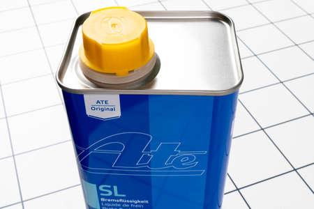 Sankt-Petersburg, Russia, March 20, 2021: ATEl brake fluid DOT 4 background. Metal canister with brake fluid