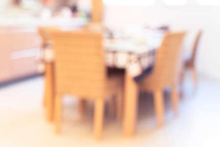 Abstract blur kitchen room interior background. Blurred modern house with kitchen. Defocused bokeh light effect background. Modern kitchen with bokeh light. Foto de archivo