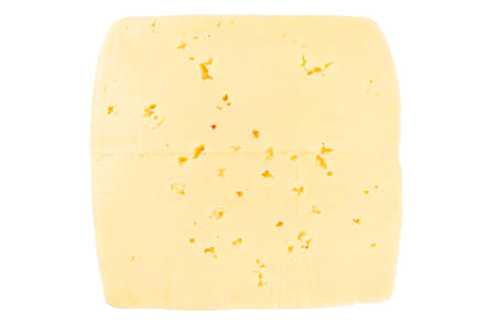 Cheese block isolated on white background with clipping path. Closeup view of a piece of cheese. Piece of delicious fresh cheese.