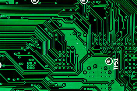 Macro shot of Circuit board with resistors microchips and electronic components. Computer hardware technology. Integrated communication processor. Information engineering. Semiconductor. PCB. Closeup