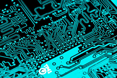 Macro shot of Circuit board with resistors microchips and electronic components. Computer hardware technology. Integrated communication processor. Information engineering. Semiconductor. PCB. Closeup Reklamní fotografie