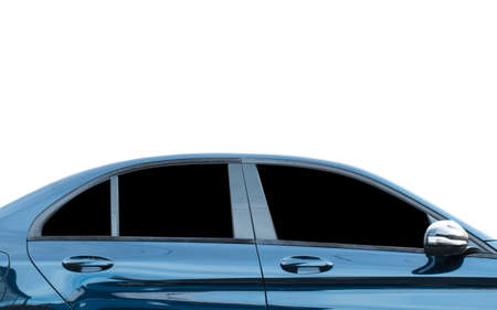 Side view part of luxury car isolated on white background. Blue shiny car with copy space.