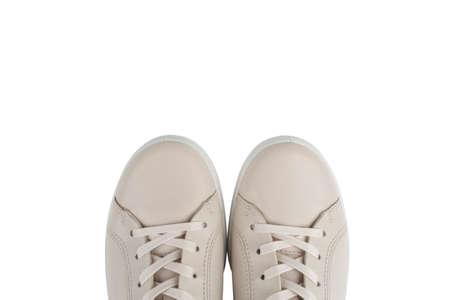 Stylish leather shoe isolated on white background. Leather fashionable shoes isolated
