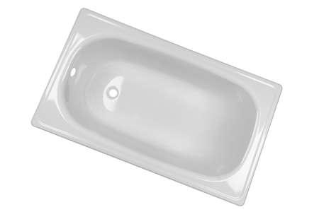 Bathtub isolated on white background. Empty bathtub isolated. White bath tub texture background over white. 写真素材