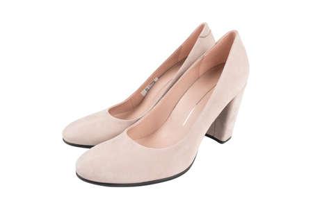 Stylish classic women leather shoe isolated on white background. Suede leather fashionable female shoes isolated