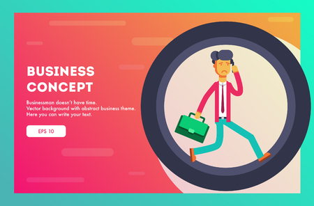 Business concept. Businessman running in hamster wheel. Vector illustration.