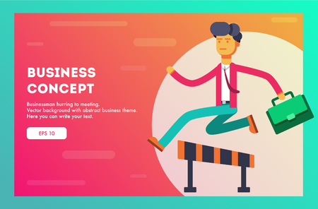 Businessman overcoming challenges like steeplechaser. Vector illustration