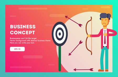 Businessman does not hit the target. Vector illustration.