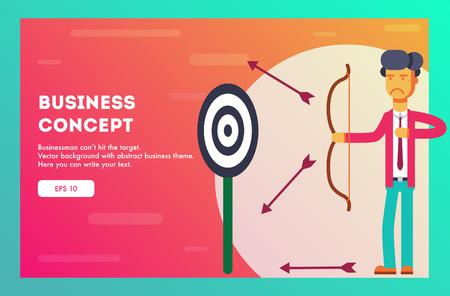 Businessman does not hit the target. Vector illustration. Vector Illustration