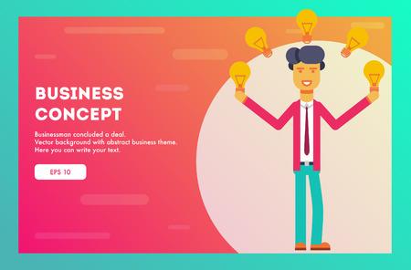 Hombre de negocios exitoso en traje de pie fácil malabarismo con ideas. Ilustración de vector.