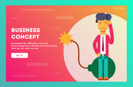 Businessman sits on a burning bomb. Vector illustration.