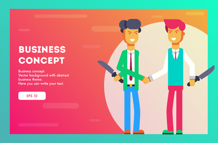 Business concept. Two businessmen hate each other. Vector illustration