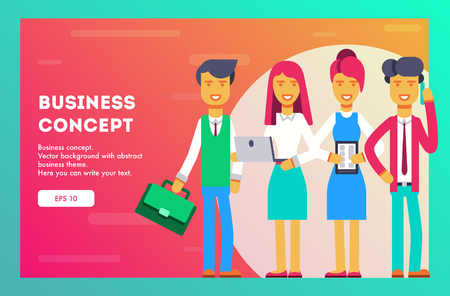 Business team of employees. Vector illustration.