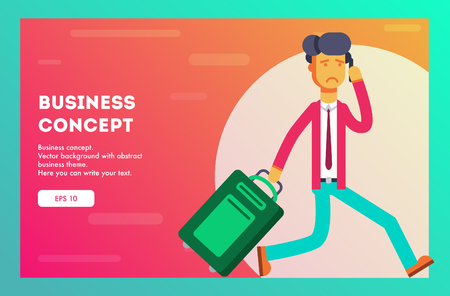 Unhappy businessman is late for the plane and speaks on the phone. Vector illustration.