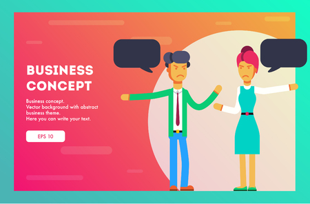 Business concept. Teamwork metaphor. Two businessmen connecting puzzle elements with a message. Combining two pieces. Symbol of working together, cooperation, partnership. Vector, Illustration, Flat.
