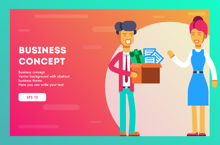 Businesswoman welcomes new employee. Vector, Illustration, Flat.