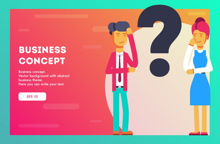 Businessman and businesswoman trying to solve the problem. Vector, Illustration, Flat.