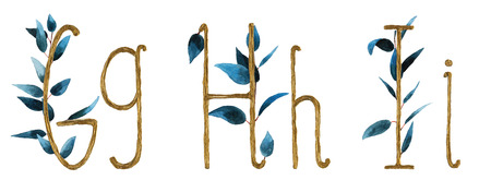 Font alphabet g, h, i  is made of watercolor and gold leaf letters with a precious paper to cut the shape of the letters. A collection of brilliant flora font for your unique jewelry in spring, summer and many of the ideas of the concept