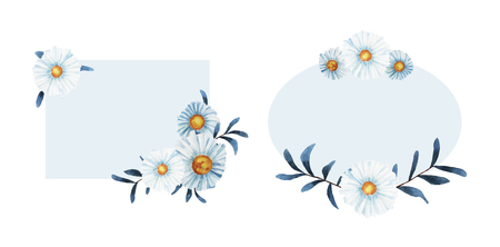 Wildflower chamomile flower frame in a watercolor style isolated. Full name of the plant: chamomile, daisy wheel .Aquarelle wild flower for background, texture, wrapper pattern, frame or border.