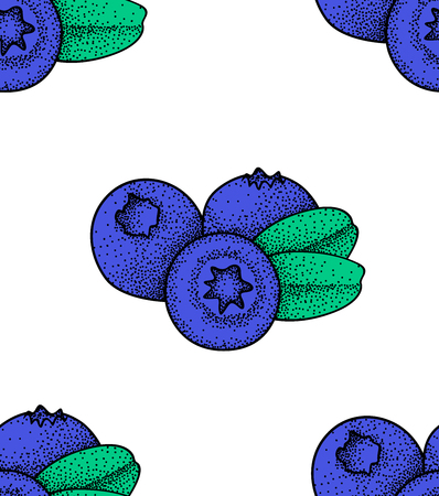 Beautiful vector seamless pattern with natural fresh blueberries. Çizim