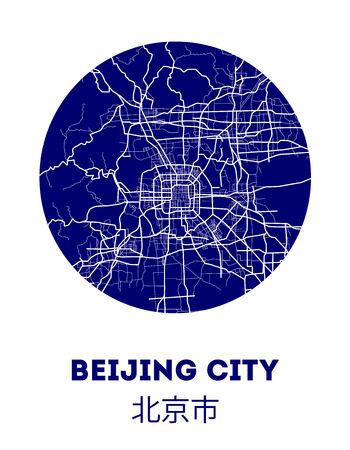 Area map of Beijing, China. Beijing vector city street map