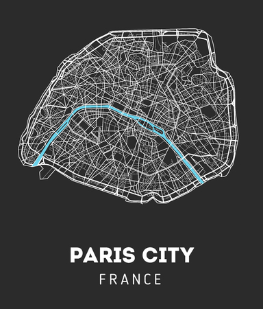 Vector city map of Paris city with well organized separated layers. Vector illustration.
