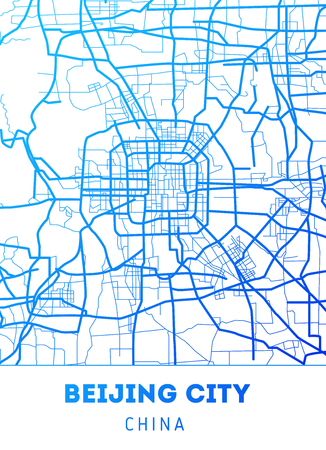 Vector city map of Beijing with well organized separated layers. Vector illustration. Reklamní fotografie - 116689207