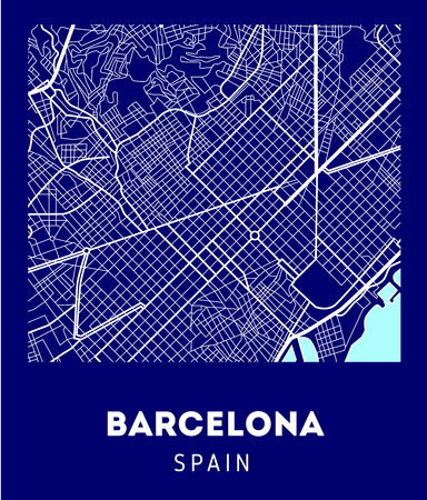vector city map of Barcelona with well organized separated layers.