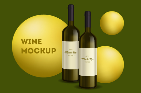 Vector, wine bottle, made in a realistic style. on background. It can serve as a layout for  design. Vector illustration Banco de Imagens - 123631898