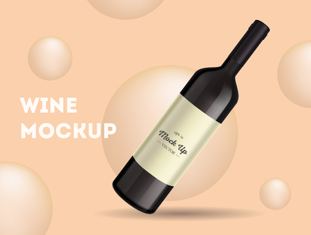 Vector, wine bottle, made in a realistic style. on background. It can serve as a layout for  design. Vector illustration Vettoriali