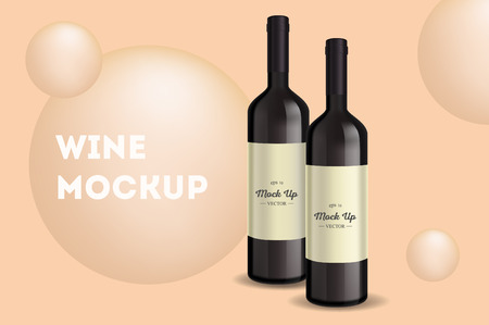 Vector, wine bottle, made in a realistic style. on background. It can serve as a layout for design. Vector illustration Ilustração Vetorial