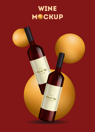 Vector, wine bottle, made in a realistic style. on background. It can serve as a layout for  design. Vector illustration Ilustração