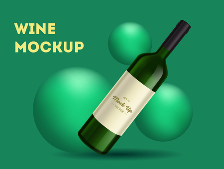 Vector, wine bottle, made in a realistic style. on background. It can serve as a layout for  design. Vector illustration Banco de Imagens - 123631905