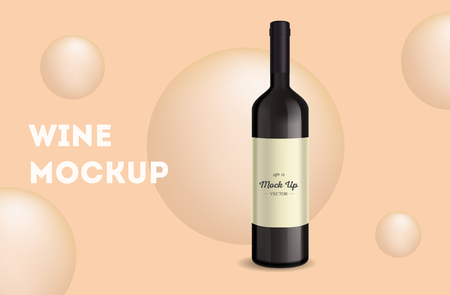 Vector, wine bottle, made in a realistic style. on background. It can serve as a layout for design. Vector illustration