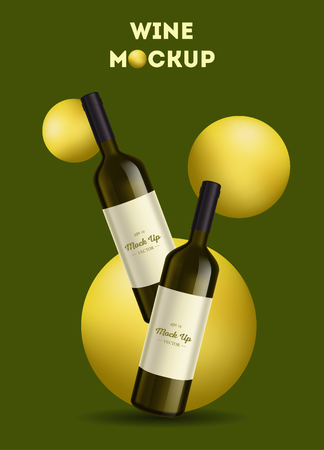 Vector, wine bottle, made in a realistic style. on background. It can serve as a layout for  design. Vector illustration Illustration