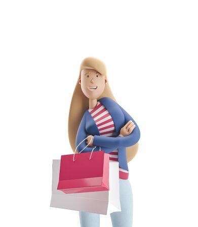 Young business woman Emma standing with bags from stores on a white background. 3d illustration Reklamní fotografie
