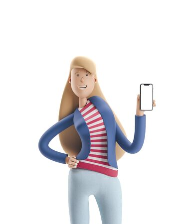Young business woman Emma standing with phone on  a white background. 3d illustration Reklamní fotografie - 128586357