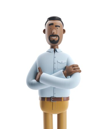 Cartoon character Stanley stand on white background. 3d illustration