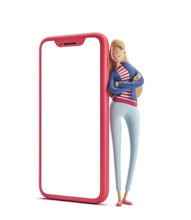 Young business woman Emma standing with big phone on  a white background. 3d illustration Reklamní fotografie - 128586379