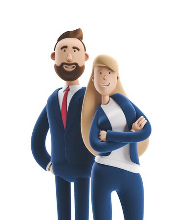 Cartoon character couple Emma and Billy standing on a white background. 3d illustration Reklamní fotografie