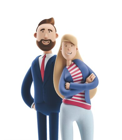 Cartoon character couple Emma and Billy standing on a white background. 3d illustration Reklamní fotografie - 128586385