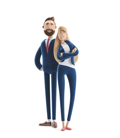 Cartoon character couple Emma and Billy standing on a white background. 3d illustration Reklamní fotografie - 128586390